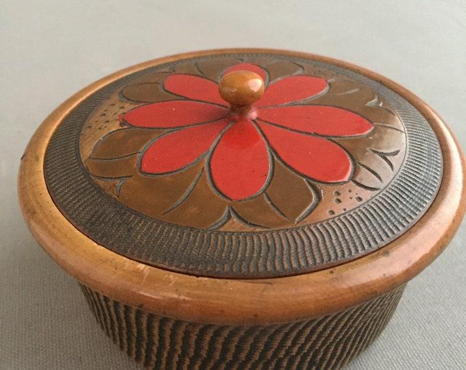 Vintage japanese Carved Wood Trinket Box