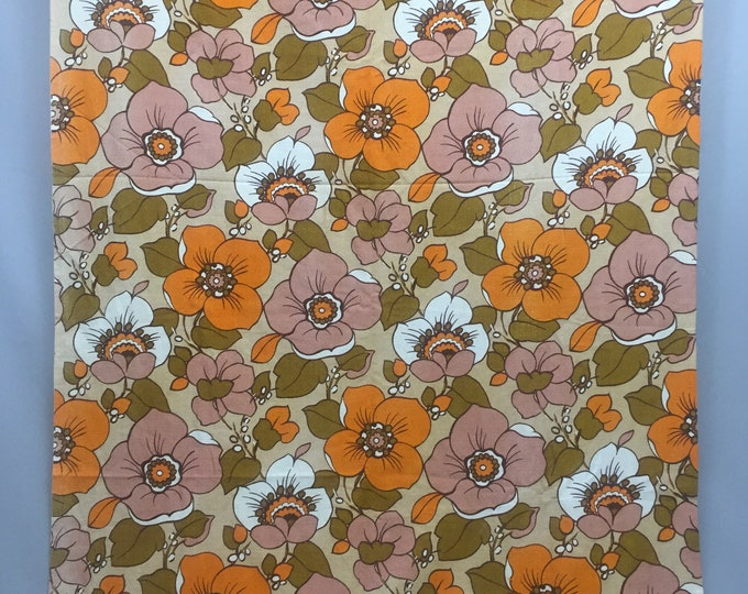 1970s barkcloth fabric panel