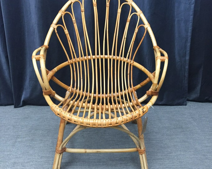 1970s Cane bucket chair