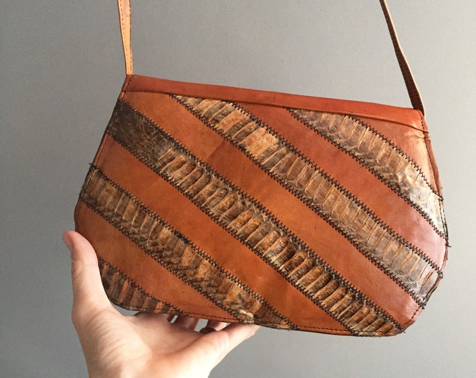 1970s snake skin and leather shoulder bag with matching belt