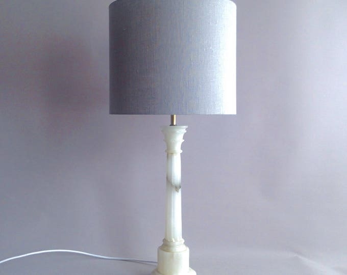 Svenskt Tenn marble lamp base with grey linen shade