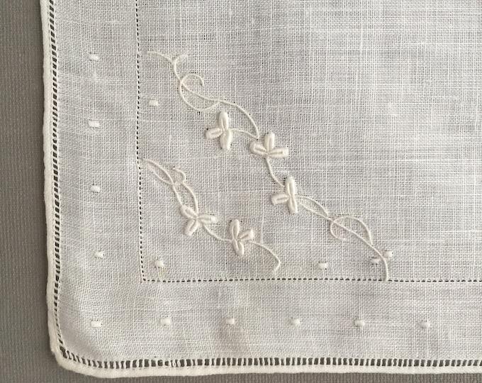 1960s linen embroidered handkerchiefs