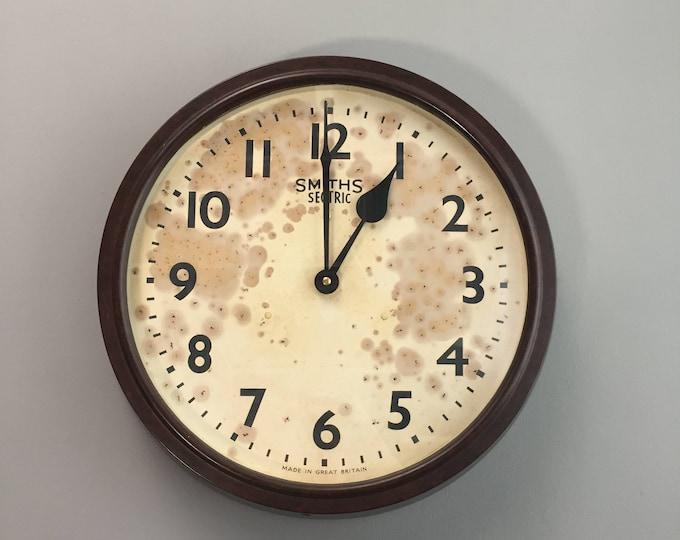 Vintage Original 1940s Brown Bakelite Wall Clock by Smiths