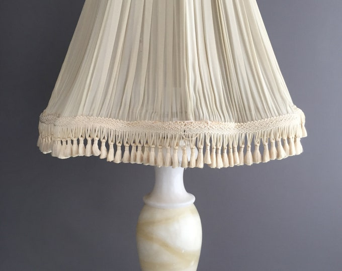 1940s marble base and old silk shade
