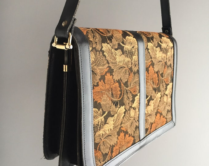 1980s tapestry textile and leather handbag
