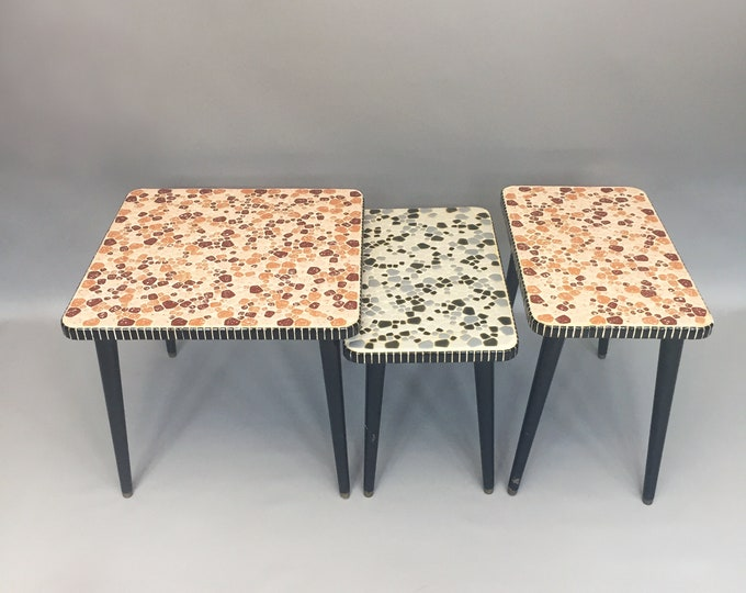 1950s mosaic trio of tables
