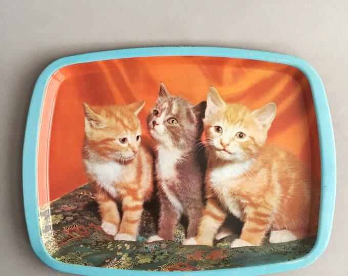 1960s Tin kitten tray