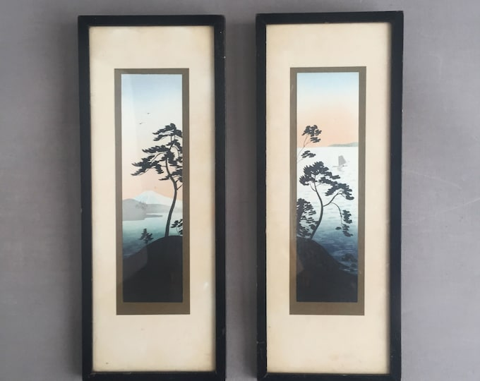 1950s Japanese water colour pair