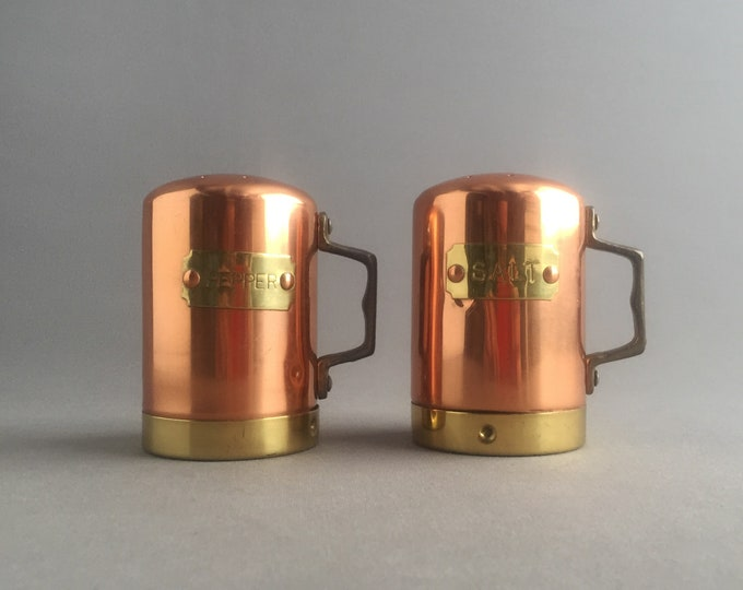 brass and copper salt and pepper shakers