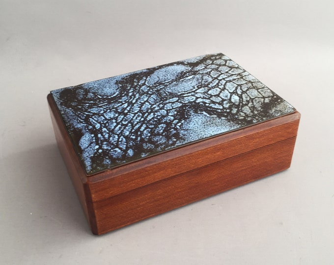 wooden box with enamel top