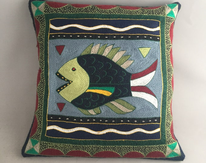 crewel  embroidery fish cushion