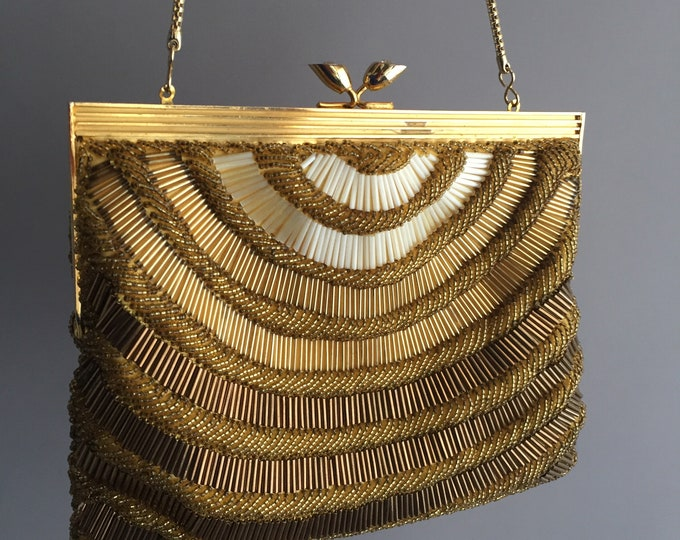 1950s gold bead cocktail purse / handbag