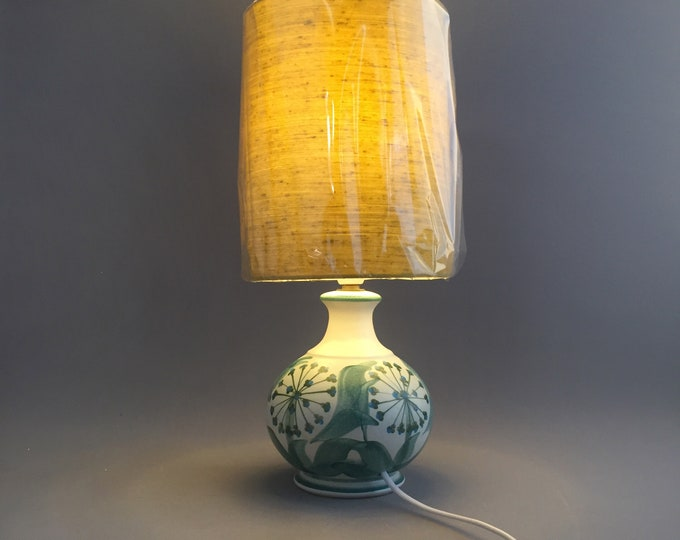 1970s hand painted studio pottery lamp base and shade