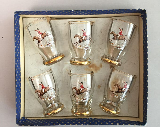 1950s  horse rider/ hunting scene shot glasses in original box
