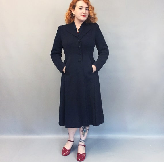1940s gabardine pure wool dress coat