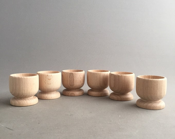 wooden egg cups x 6