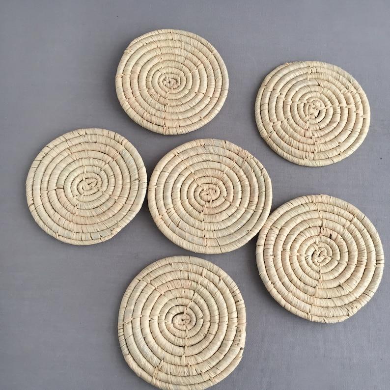Set of 6 raffia coasters