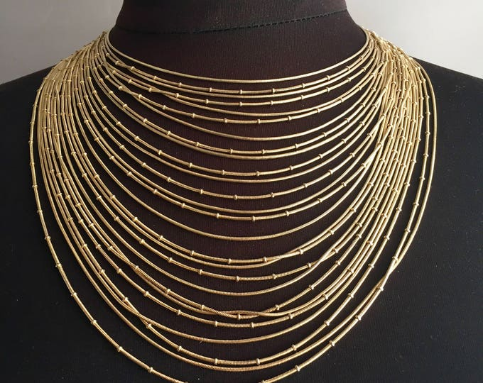 Multi strand 1970s/1930s style gold filled sterling silver neck lace