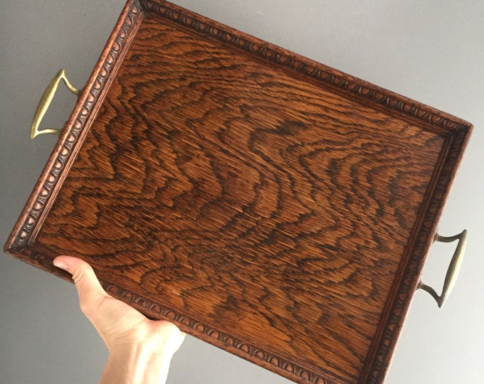 old wooden tray with brass handles