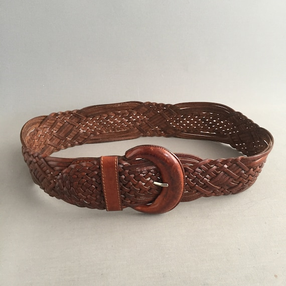 woven leather cinch belt