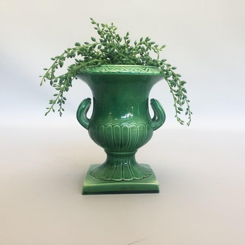 1950s Green ceramic Urn by Elaine Goddard