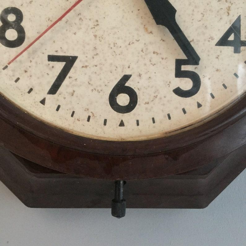 Smiths Sectric électrique murale horloge en bakélite des années 30 octogonale des années 40 ART déco