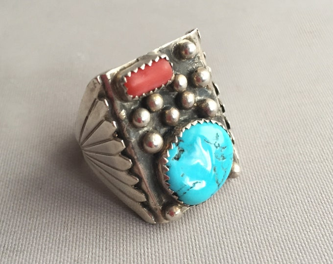Navajo silver with turquoise and jasper