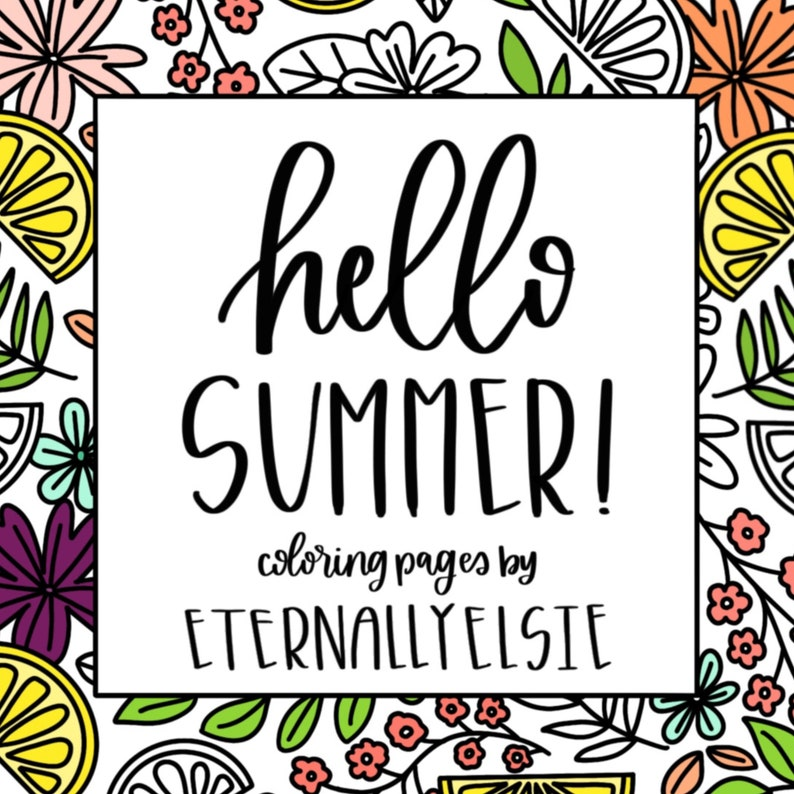 Hello Summer Printable Coloring Pages