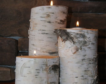 Large Birch log tea light candle holder - 3 piece