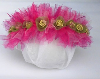Soft pink tulle headband with gold flowers 042dbad105e