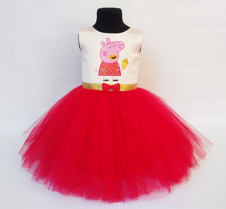 Amazing Peppa Pig Rhinestones Birthday Dress Peppa Pig Outfit Peppa Pig Luxury Dress,