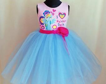 My Little Pony Dress, My Little Pony Birthday Dress, Rainbow Dash Dress, Little Pony Tutu Dress, Rainbow Dash Tulle Dress