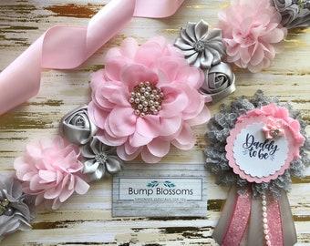 Pink and Silver maternity sash, Pink and Gray maternity sash, Pink and Gray Sash, Pink and Gray baby shower sash, Pink and gray sash