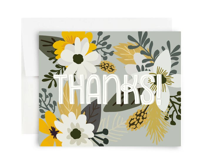 Thank you cards a fox her hound green gold floral thanks greeting card m4hsunfo
