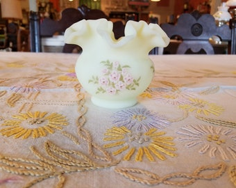 Vintage Fenton Yellow Custard Glass with Pink Blossoms Flower Vase Hand Painted