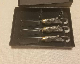 Vintage Set of 3 Arthur Court Elephant Handled Cheese Spreaders Stainless
