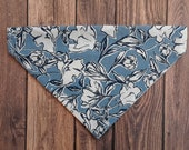 REVERSIBLE WINTER FLORAL Dog Bandana, Winter over the collar bandana, Blue Dog Bandana, Personalized Dog Bandana, Christmas Dog gift