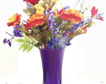 Dry silk flowers etsy floral arrangement in lasting bright colors deep blue purple yellow gold orange faux silk flowers heavy glass purple vase sophosticated mightylinksfo