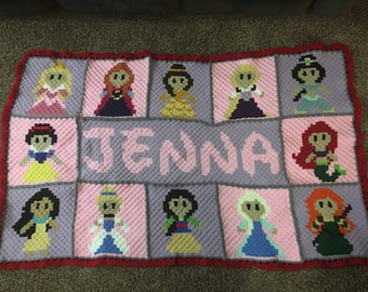 Disney Princesses Crochet Blanket