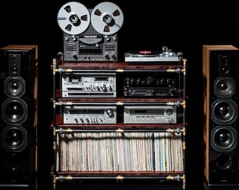 Record player stand with vinyl records storage - Audio rack - Media center