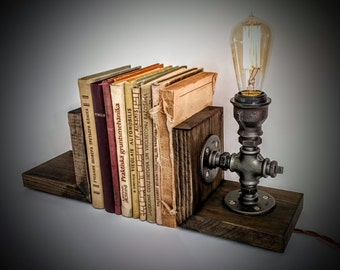 Bookends Book Holders Cool Stopper Unique Decorative Bookend Wooden Lamp Steampunk Furniture