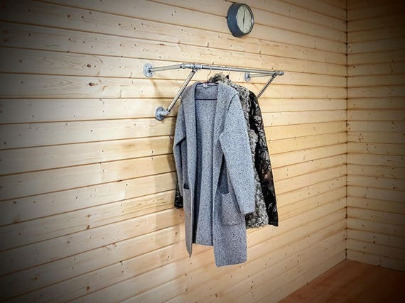 heavy duty wall mounted clothes rack wall mounted clothes etsy. Black Bedroom Furniture Sets. Home Design Ideas