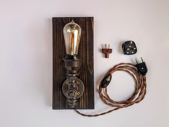 Wall sconce on wooden base wall lamp industrial lighting etsy