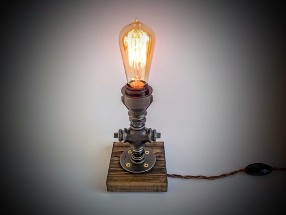 Grijze Slaapkamer Lamp : Slaapkamer tafellamp plug in nachtlampje met rustieke etsy