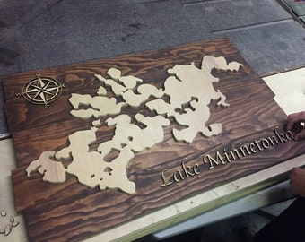 Lake Minnetonka Wood Map Sign