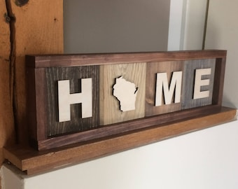 Wood Wisconsin Home Sign