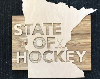 State of Hockey Wood Sign