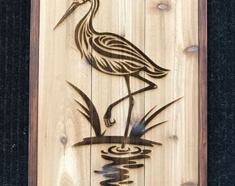 Wooden Great Blue Heron Sign