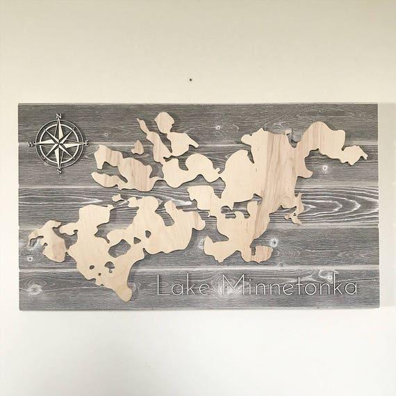 Lake Minnetonka Wood Map Sign Etsy