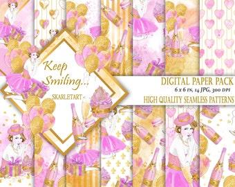 Birthday Paper Pack Digital Scrapbook Printable Background Blog Theme Paper Pack Fashion Girl Illustration Planner Fashion Girl
